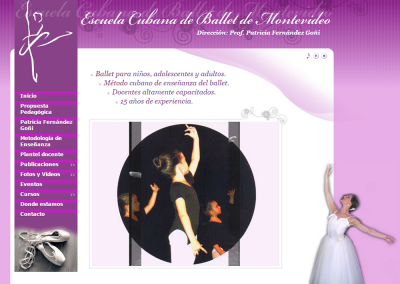 Sitio web para escuela de ballet